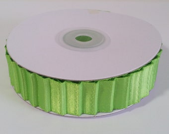 "7/8"" Double Face Satin Pleated Ribbon - Apple Green - 10 Yards"