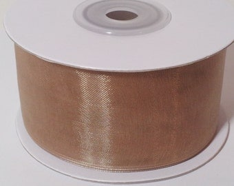 """1 1/2"""" Sheer Organza Ribbon - Toffee - 25 Yards"""