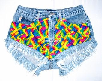 Limited Edition Levi High Waisted Denim Shorts, Levi Tie & Dye High Waisted Shorts, Levi Vintage Hipsters Denim Shorts, Plus Size Shorts