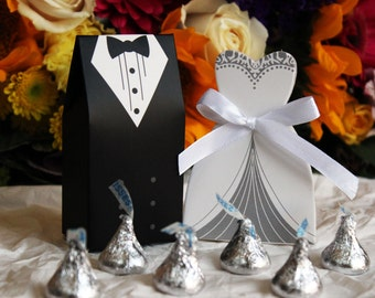 Wedding Favor Candy Box Show Gift - Dress and Tuxedo [Black, White & Silver]