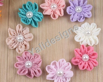 10pcs Wholesale Dot Chiffon Flower Brooch/Pearl Flower Headdress Fabric Flower For Pin and Headband YTA08