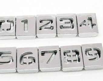 10pcs Set of Arabic Numbers Charms 0 through 9 Numbers Slide Charm silver DIY numbers Keychain key ring Personalized Pet Dog Cat Collar