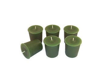 12 Green Classic Hand-poured Unscented Votive Candles