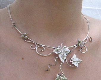 Ivy and butterfly necklace