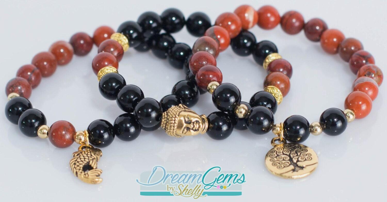 Buddha tree of life koi fish bracelet set red flake jasper for Koi fish beads