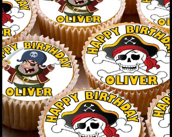 24 x Personalised Pirates Cup Cake Toppers with Any Name Happy Birthday Design 3
