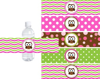 Printable Owl Water Bottle Labels - INSTANT DOWNLOWD - DIY File