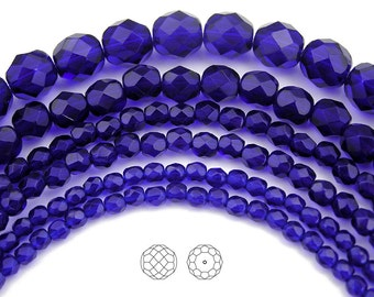 8mm (51pcs) Cobalt Blue, Czech Fire Polished Round Faceted Glass Beads, 16 inch strand