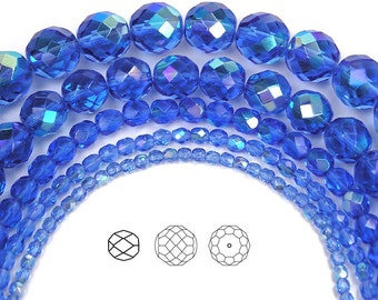 6mm (68pcs) Sapphire AB coated, Czech Fire Polished Round Faceted Glass Beads, 16 inch strand