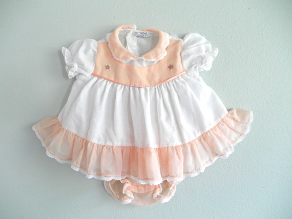 Baby Girl Dress Peach Infant Dress Newborn by ThePoshBabyShoppe
