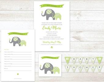 green elephant gender neutral baby shower invitation 4pc party pack gender neutral baby shower party set