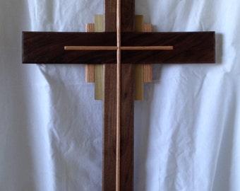 "Walnut Cross, with Red Oak and Poplar. 36"" tall, 21"" wide"