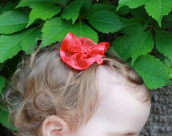 Red Organza Hair Clip