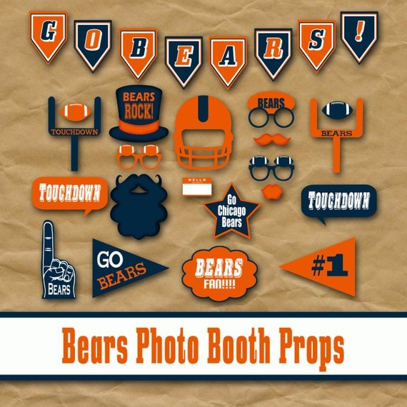 Chicago Bears Football Printable Photo Booth Props