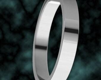 3mm Platinum 950 Flat Wedding Band