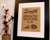 Beach House, Beach Home Sign, Burlap Sign, Home Established, Housewarming Gift, Burlap Print, Eco Friendly House Warming Gift