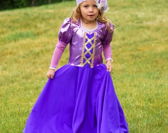 Comfortable Rapunzel Dress! Soft, Stretchy, Non itchy, machine washable, Sparkle Bodice. High quality fabric &workmanship