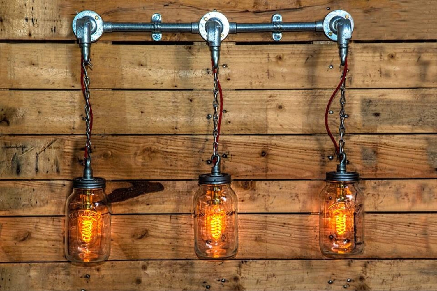 Steel Conduit And Hanging Mason Jars Wall Or Ceiling Light