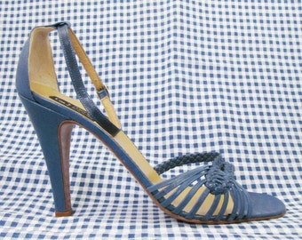 Vintage High Heeled Strappy Sandals in Blue Leather