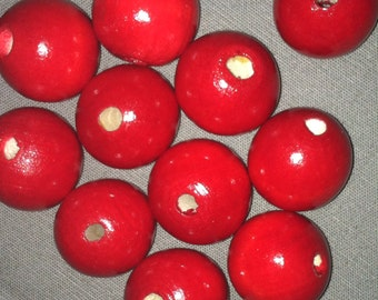 25mm Red wooden beads 20 pieces