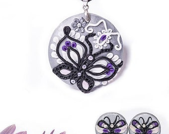Polymer Clay Jewelry Set - Necklace, Earrings with Butterflies - Silver Tone