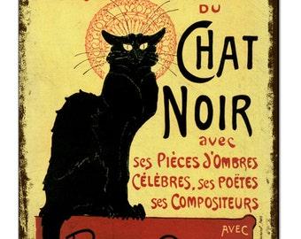 Chat Noir Black Cat Vintage Metal Sign Retro Tin Plaque Advert