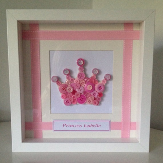 Princess crown button art in box frame by littlebuttonframeco for Wedding dress shadow box for sale