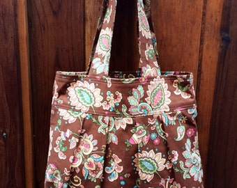 Tote-bag  Brown with floral print -  Bag - Purse