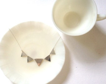 Leaf Print Bunting Necklace.  Sterling silver.