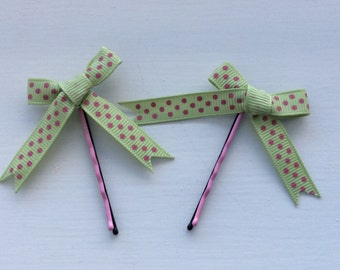 Gorgeous handmade bows on hand painted kirby grips, clips, bobby pins, slides, polka dot or checked
