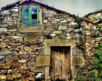 Travel photography, Europe photography, rustic decor, Stone house, home decor, old house, rural decor, landscape photo, architectural photo