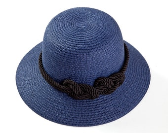 Womens hat , Blue hat with a sailor rope & a nautical knot.