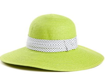 Lime green wide brim hat , Sun hat for women , decorated with a stunning ribbon.
