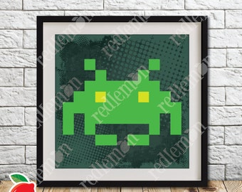 Retro Video Game Atari 8-bit Space Invaders Alien 1 Print