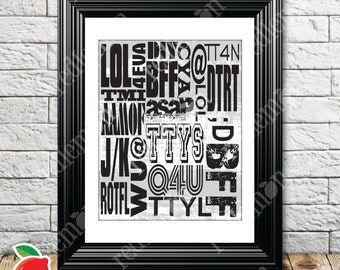 Stylized Text & Email Abbreviations Themed Print