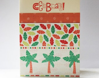 """Celebrate, Boy Birthday, Baby Shower, Bold Colorful Jungle, Palm Tree Card with Envelope, Blank, 4(1/4) x 5(1/2)"""""""