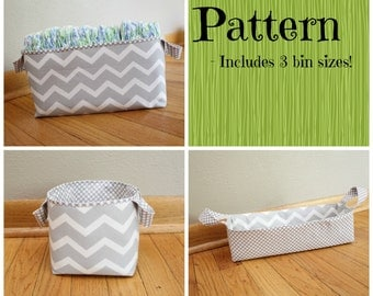 TUTORIAL - 3 sizes - Fabric storage Bins - Diaper Caddy - Instant download -Pattern