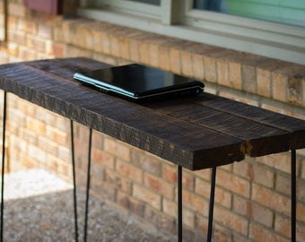 """Reclaimed Wood Desk Table - With Rustic Barn Wood and Solid Oak W/ 28"""" Hairpin legs."""