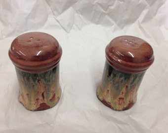 Pair of Stoneware Pottery Salt and Pepper Shakers with Stoppers