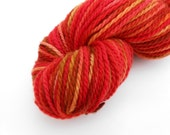 CLEARANCE Discounted Skein Sugar Maple Red Orange and Golden Tonal Hand Dyed Merino Wool Yarn Worsted