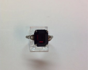 Vintage Deep Red Stone Ring, 1950's