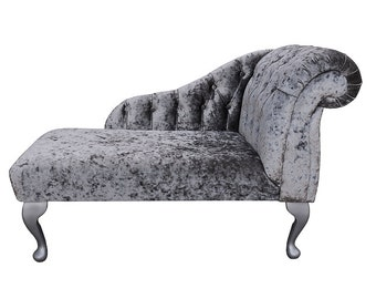 Small Chaise Longue in a Silver Senso Fabric with Fabric Buttoned Effect