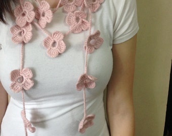 Floral Crochet Scarf in Powder Pink,Mother's day Gifts