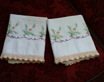 1940's Embroidered Pillow Slips