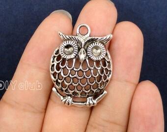 10pcs of Antique Tibetan silver tone Large Owl Charm pendants 34x25mm