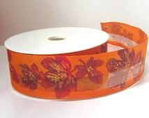Burnt orange ribbon, 45mm ribbon,ribbon by the yard, floral ribbon, wide ribbon,, ribboncraft supplies, leaf print ribbon, printed robbon
