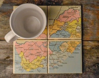 Mapped Ceramic Coasters: South Africa - Set of 4
