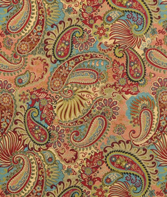 Mix It Up Carnival Fabric Salmon Blue Red Green