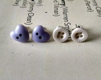 2 Pairs Of Vintage Cute Pastel Lilac Harts And Cream Button Studs