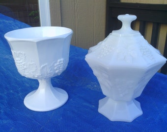 VTG Two Milk Glass Grape Designed Candy and Nut Dishes.